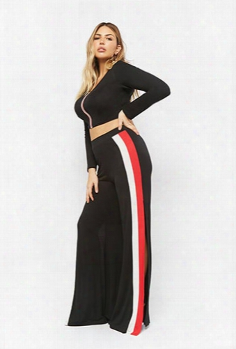 Plus Size Striped Crop Top & Split-leg Pants Set
