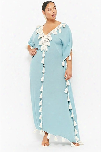 Plus Size Z&l Europe Tasseled-trim Kaftan Dress
