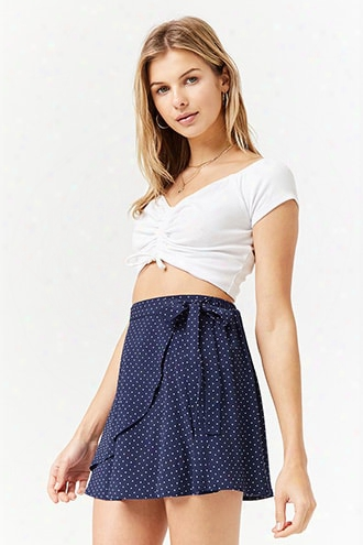 Polka Dot Wrap Mini Skirt