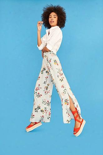 Stripe Floral Wide-leg Pants
