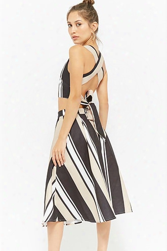 Striped Cross-back Self-tie Crop Top & Mii Skirt Set