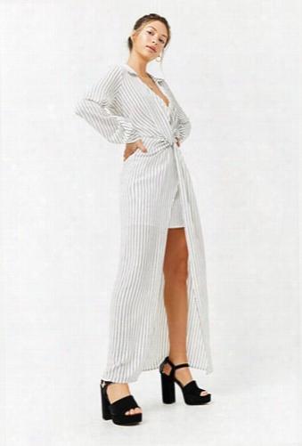 Striped Twist-front High-low Maxi Dress