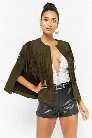 Faux Suede Fringe Cape Jacket