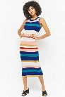Ribbed Knit Striped Dress