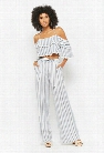Striped Open-Shoulder & Palazzo Pants Set