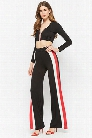 Striped Zip-Front Crop Top & High-Rise Pants Set