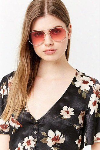 Tinted Hexagon Sunglasses