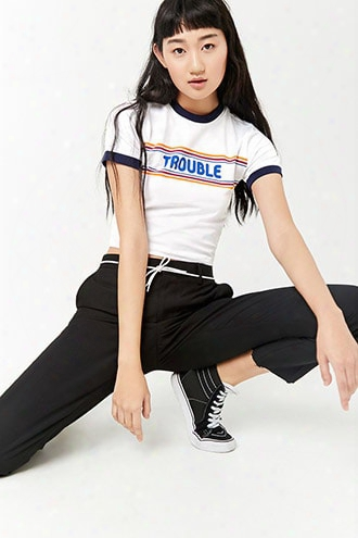 Trouble Graphic Ringer Tee