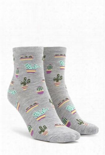 Cactus Print Crew Socks