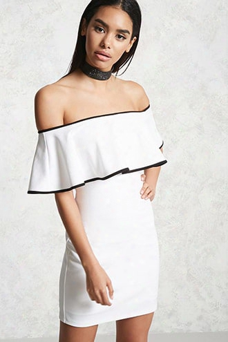 Contrast-piped Flounce Dress