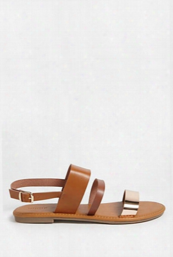 Faux Leather Metallic Strap Sandals
