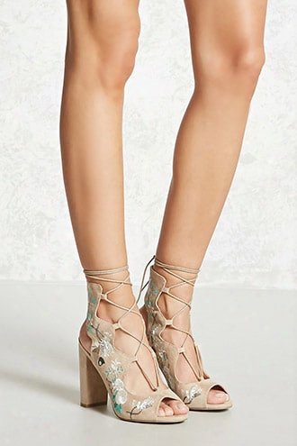 Faux Suede Embroidered Heels