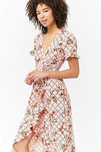 Floral Grid Wrap Dress