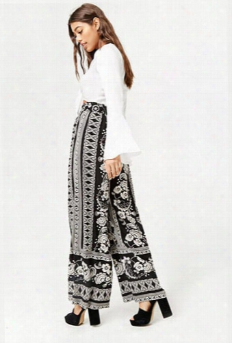 Floral Tribal-inspired Wide-leg Pants