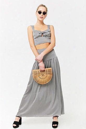 Gingham Drop-hem Maxi Skirt
