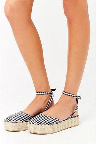 Gingham Espadrille Flatform Sandals