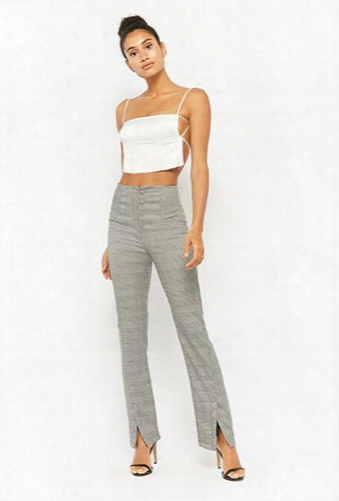 Glen Plaid Button-front Pants