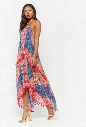 Ornate Print Halter Maxi Dress