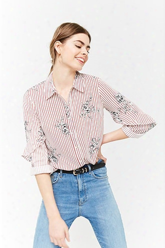 Pinstriped Floral Shirt