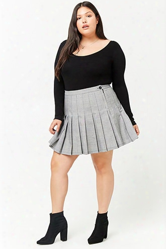 Plus Size Glen Plaid Pleated Mini Skirt