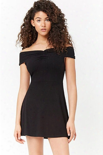 Ribbed Off-the-shoulder Ruched Swing Dress