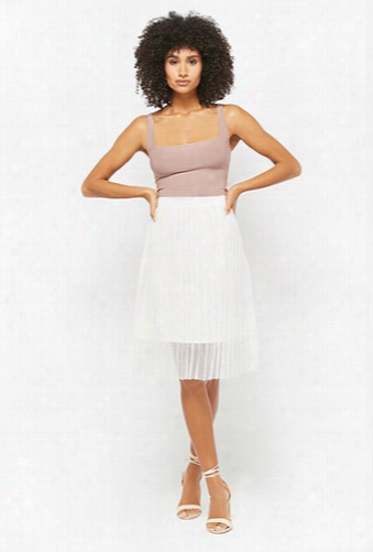 Sheer Accordion Pleated Skirt