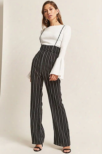 Stripe Square-neck Jumpsuit