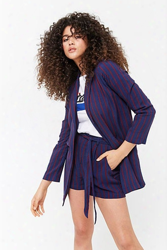Striped Longline Open-front Jacket