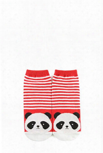 Striped Panda Ankle Socks