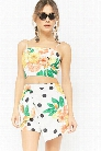 Floral Polka Dot Citrus Print Cami Crop Top