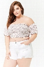 Plus Size Smocked Floral Crop Top
