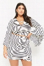 Plus Size Striped Bell-Sleeve Crop Top
