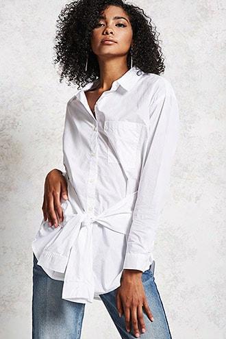Tie-waist Oversized Shirt
