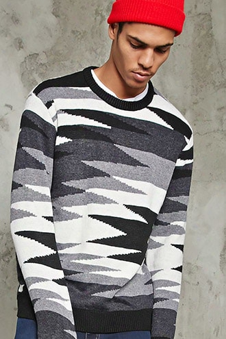 Abstract Pattern Woolen Sweater