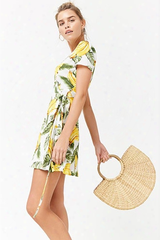 Banana Print Wrap Dress