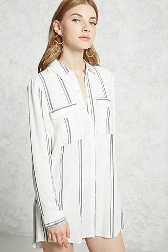 Boxy Striped Shirt Dress