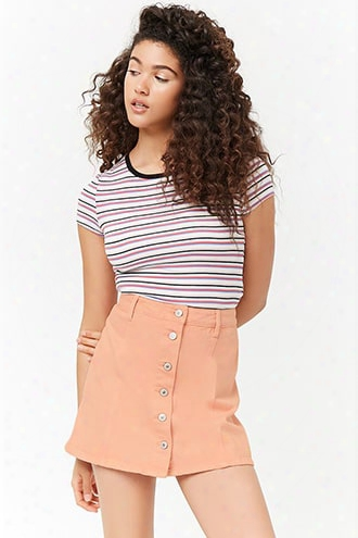 Button-front Mini Denim Skirt