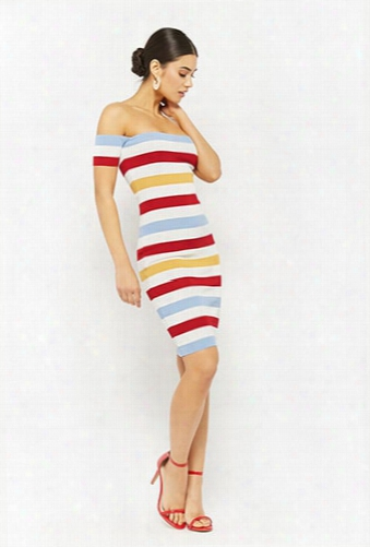 Colorblock Striped Off-the-shoulder Dress