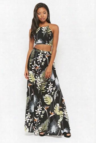Floral High-neck Top & Skirt Set