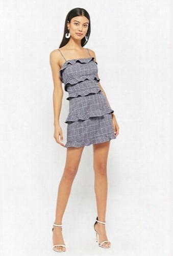 Grid Ruffle Mini Skirt