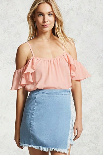 Open-shoulder Ruffled Cami