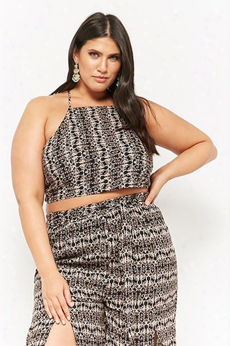 Plus Size Baroque-inspired Self-tie Crop Top