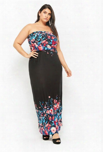 Plus Size Floral Print Strapless Maxi Dress