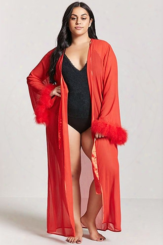 Plus Size Sheer Feather Cuff Robe