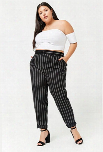 Plus Size Striped High-rise Pants