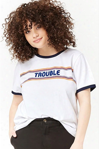 Plus Size Trouble Graphic Ringer Tee