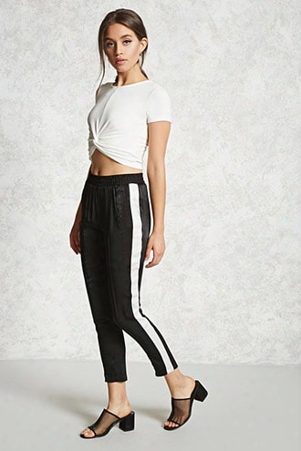 Satin Contrast Stripe Pants