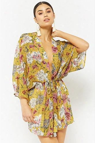 Sheer Floral Self-tie Chiffon Kimono