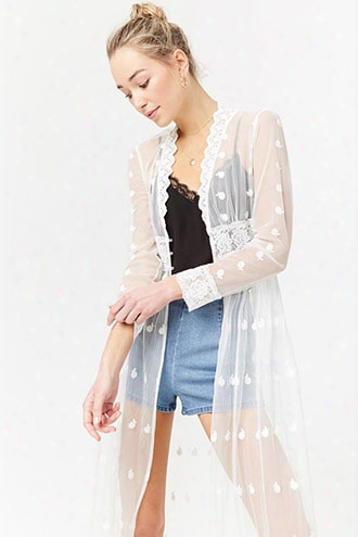 Sheer Plunging Embroidered Lace Duster