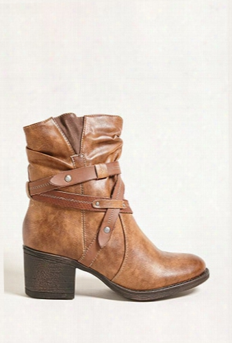 Strappy Faux Leather Boots